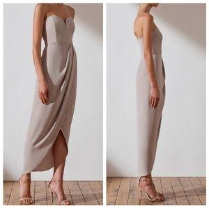 Shona Joy Core U Bustier Draped Oyster Maxi Dress